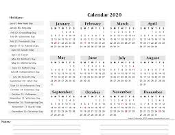 Free Printable Yearly Calendar 2020 ...