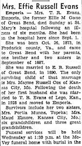 Effie Gano Russell Evans - Obituary - Great Bend Tribune - Jan 18 1954 -  Newspapers.com