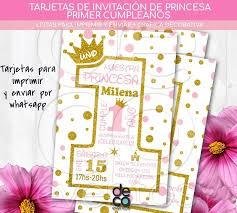 Tarjeta Invitacion Cumpleanos Princesa Primer Ano P Imprimir