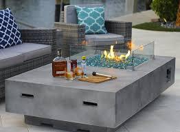 rectangular modern concrete fire pit