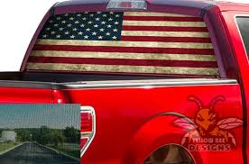 Usa Flag Rear Window Decals Perforated Vinyl Ford F150
