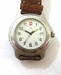 swiss army brown leather band watch
