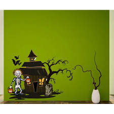 Haunted House With Skeleton Trick Or Treating Wall Decal Vinyl Sticker Car Sticker Idcolor003 25 Inches Walmart Com Walmart Com