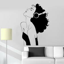 Sexy Woman Wall Decal For Living Room Beautiful Girl Headphones Music Room Decor Musical Classroom Vinyl Wall Stickers Sticker Walls Stickers Decor From Joystickers 11 75 Dhgate Com