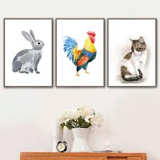2020 Farm Animal Grey Rabbit Cock Cat Nursery Wall Art Canvas Painting Nordic Posters And Printswall Pictures Baby Kids Room Decor From Goodcomfortable 3 95 Dhgate Com