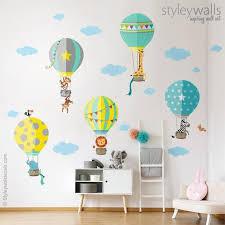 Air Balloons Wall Decal Hot Air Balloons Wall Sticker Jungle Etsy Baby Room Wall Baby Room Wall Decor Baby Room Decor