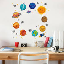 Cartoon Universe Planet Wall Sticker Kids Rooms Study Rooms Bedroom Decorations Wallpaper Mural Home Art Decals Nursery Stickers Wall Stickers Aliexpress