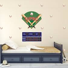 Large Baseball Diamond Wall Decals Scoreboard And Baseball Wall Deca