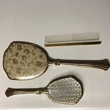 gold tone mirror brush comb dresser set