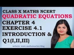 quadratic equations chapter 4 ex 4 1