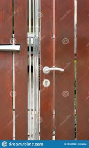 Modern Fence Door With Handle And Key Lock Stock Image Image Of Design Iron 155370601