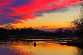 beautiful sunset over the river red sky