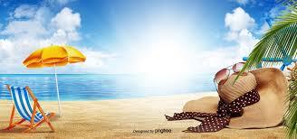 Summer Beach Bright Background, Summer Background, Sun Hat ...