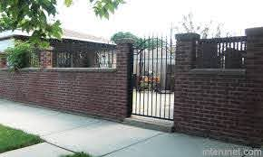 Older Brick Fence With Metal Gate Picture Interunet