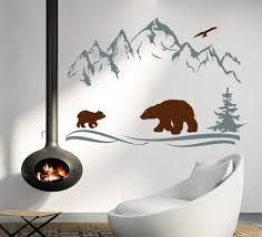 Wall Decals Mountains Peaks Wild Animals Nature Bear Cub Tree Etsy
