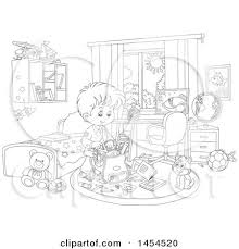 cartoon black and white lineart school