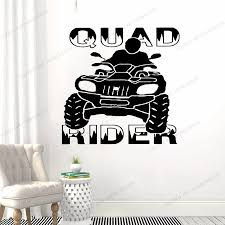 Wall Decal Atv Quad Bike Quadrocycle Atv Race Motor Four Wheeler Atv Extreme Sport Bike Racing Rider Yw 169 Wall Stickers Aliexpress