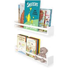 Amazon Com Wallniture Utah 24 White Bookshelf For Kids Room Decor Wall Mounted Wood Floating Shelves Set Of 2 Home Kitchen
