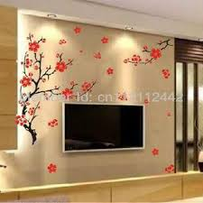 Red Plum Blossom Flowers Black Tree Branch Wall Stickers Decals Butterfly Removable Decor Backdrop 50 70cm Wall Graphic Wall Graphic Decals From Homegarden 12 9 Dhgate Com