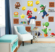 Amazon Com Birthdayexpress Super Mario Bros Mario Luigi And Yoshi Giant Wall Decals Combo Kit Multi Colored One Size Toys Games