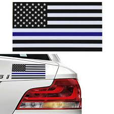 Us 2pcs American Flag Thin Blue Line Cop Police Vinyl Decal Sticker Car Window