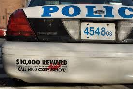 Nypd Rmp Patrol Car Bumper Sticker Decal 10 000 Reward Call 1 800 Cop Shot 1903521955