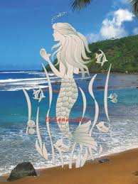 White Mermaid Etched Window Decal 10x16 Static Cling Glass Door Tropical Decor