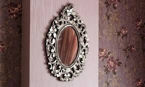 hand carved silver wall mirror frame