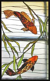 zoom to stained glass koi fish window