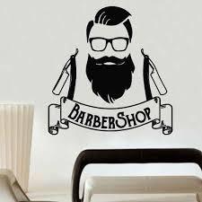 Barber Shop Logo Wall Decals Man Hipster Wall Sticker Beauty Salon Decoration Hair Salon Wall Mural Hairdress Style Decal Ay963 Wall Stickers Aliexpress