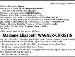Hommages - Pour que son souvenir demeure: Elisabeth WAGNER-CHRISTIN