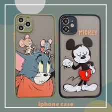 Ốp Điện Thoại Hình Chuột Mickey Và Mèo Đáng Yêu Cho Iphone 11 Pro Xs Max Xr  I 8 7 Plus Se 2