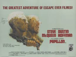 PAPILLON (1973) FIRST BRITISH RELEASE POSTER, 1974, SIGNED BY DUSTIN  HOFFMAN   Original Film Posters Online2020