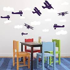Amazon Com Nursery Wall Decals Airplanes And Clouds Set Playroom Decals Removable Vinyl Wall Decor Kids Room Air Planes White Navy Blue S Baby
