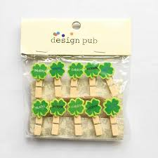 10 Pcs Pack Lucky Four Leaf Clover Wooden Paper Clip Bookmark For Album With Rope Message Stickers Stationery Clips Aliexpress