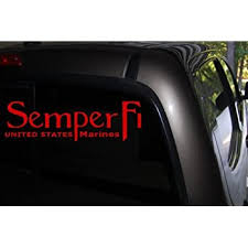 Amazon Com Classy Vinyl Creations Semper Fi Car Decal Red Auto Decal Truck Decal Suv Decal Window Sticker Window Decal Marine Decal Army Decal Military Decal Red Automotive