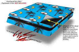 Amazon Com Wraptorskinz Ps4 Slim Skin Wrap Coconuts Palm Trees And Bananas Blue Medium Decal Style Skin Fits Sony Playstation 4 Slim Console Video Games