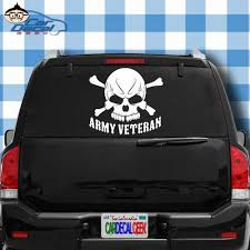 Amazon Com Car Decal Geek Army Veteran Skull Military Vinyl Decal Sticker Bumper Cling For Car Truck Window Laptop Macbook Wall Cooler Tumbler Die Cut No Background Multi Sizes Colors White 8 Automotive