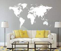 Vinyl World Map Wall Decal White World Map Wall Sticker Large World Map Wall Mural Custom World Map Maison