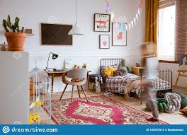 Kids Retro Bedroom With Single Metal Bed Wooden Desk And Design Armchair Stock Photo Image Of Gray Girl 150757574