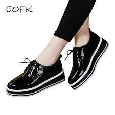 eofk women flat platform shoes patent