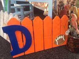 Orange And Blue Broncos Football D Fence Sign Etsy