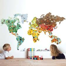 Magnetic World Map Wall Sticker With Magnetic Animals This Is So Cool Could Not Spend 84 Big Ones On It But Great Id Nursery Colors Kids Playroom Kids Room