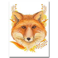 Nordic Art Flower Deer Fox Rabbit Poster Minimalist Art Canvas Paintin Elleseal