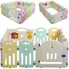 Amazon Com Baby Playpen For Babies Baby Play Playards Infants Toddler Safety Kids Play Pens Indoor Baby Fence With Activity Board Light 14 Panels Baby