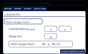 point slope form of a line calculator
