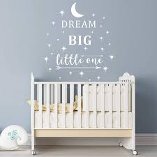 Amazon Com Dream Big Little One Wall Decal Wall Sticker Quote Nursery Wall Decal Removable Vinyl Stickers For Children Baby Kids Boy Girl Bedroom A24 White Home Kitchen