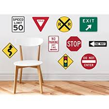 Wall Decals For Boys Bedrooms Road Sign Room Decor For Kids Room Party Decoration Stickers Traffic Stop Street Playroom Art Vinyl Decoration Birthday Gift Childrens Wall D Cor Amazon Com