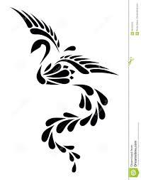 Czarny I Bialy Phoenix Plemienny Tatuaz Ilustracji Ilustracja