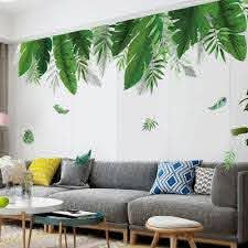 Kaboer Nordic Green Leaves Wall Decal Quotes Tropical Plant Wall Art Sticker Novelty Decorative Waterproof Vinyl Mural For Kitchen Cabinet Living Room Bedroom Office Walmart Com Walmart Com